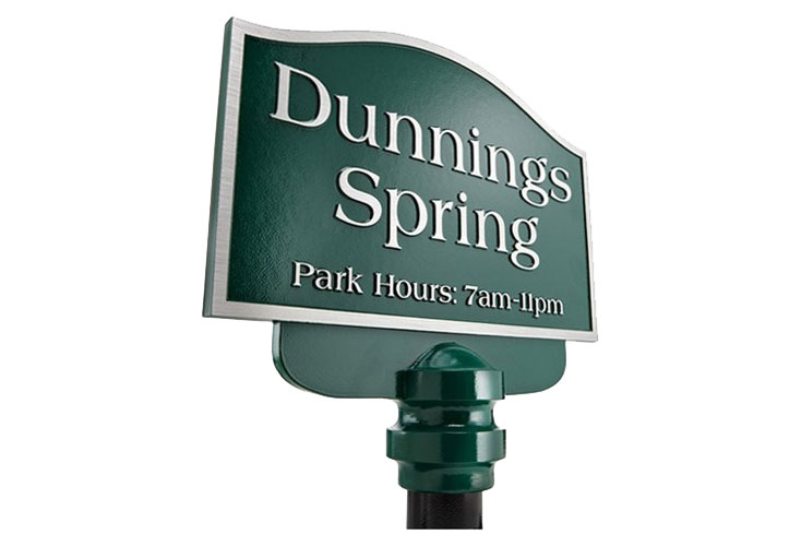 Cast Aluminum Sign with Dark Green Leatherette Texture