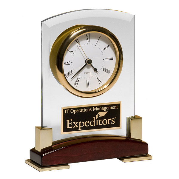 Rosewood and Glass Desk Clock