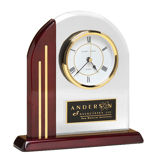 Rosewood Arched  Glass Clock
