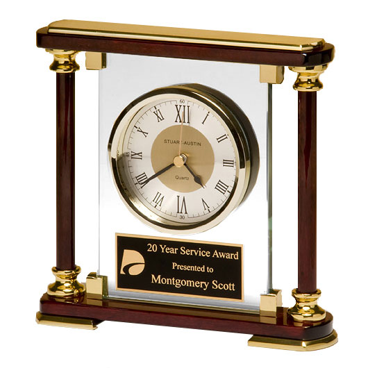 Rosewood and Glass Traditional Clock