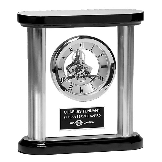 Silver and Black Skeleton Clock