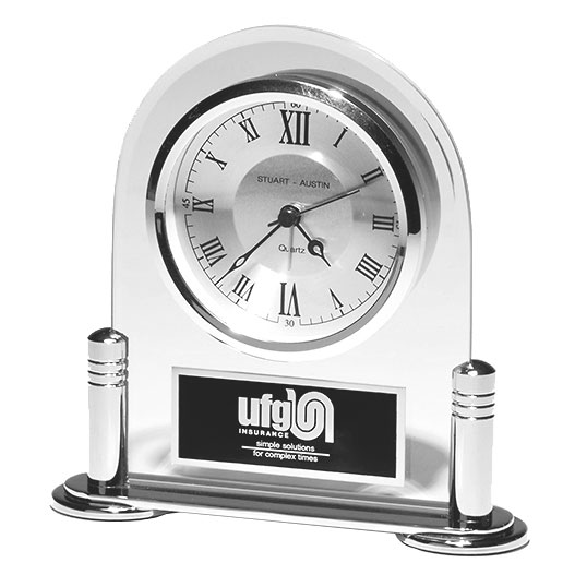 Silver and Glass Arched Desk Clock